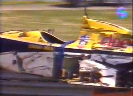 O carro que Giovanni Bonanno destruiu em Vallelunga, primeira etapa da temporada de 1991 da Fórmula 3000