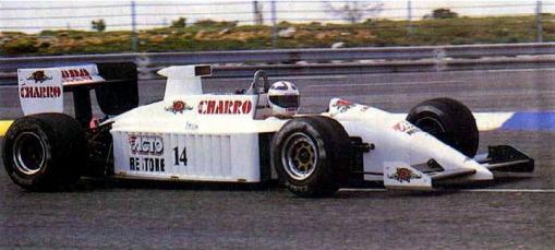 Pascal Fabre, o piloto da AGS em 1987, fazendo teste de pré-temporada. Detalhe para a entrada de ar, que seria utilizada a partir de Imola