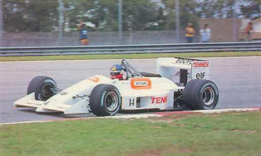 Philippe Streiff em Jacarepaguá, única corrida de 1988 em que a AGS apareceu com a pintura branca