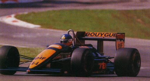Philippe Streiff em Imola. Primeira corrida da AGS com sua nova pintura azul escura (não, não é preta) e laranja